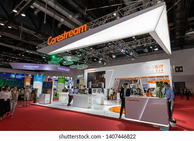 BEIJING, CHINA- AUGUST 19, 2017:  Visitors are seen at the Carestream booth during the China International Health Industry Expo (CHINA-HOSPEQ 2017) at China National Convention Center.