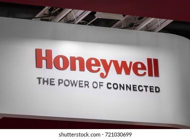 BEIJING, CHINA- AUGUST 19, 2017:  Honeywell sign; Honeywell International Inc. is an American multinational conglomerate company founded in 1906 and serves worldwide