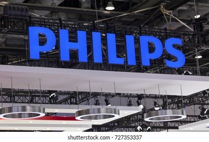 BEIJING, CHINA- AUGUST 19, 2017:  Philips brand sign. Philips is a Dutch company founded in 1891 and is one of the largest electronics companies in the world.