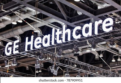BEIJING, CHINA- AUGUST 19, 2017: GE Healthcare sign. GE Healthcare is an American company founded in 2014 and is subsidiary of General Electric (GE).