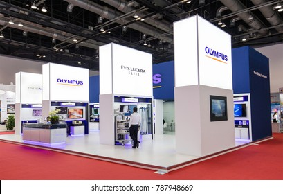 BEIJING, CHINA- AUGUST 19, 2017: OLYMPUS stand during the China International Health Industry Expo (CHINA-HOSPEQ 2017)