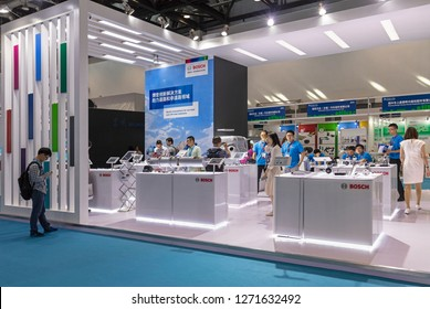 BEIJING, CHINA- AUGUST 28, 2017: Bosch booth during the The 16th International Exhibition on Internal Combustion Engine (Engine China 2017).