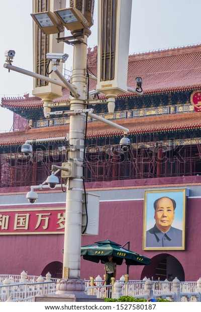 BEIJING, CHINA - AUGUST 28, 2018: Surveillance cameras in front of the Gate of Heavenly Peace in Beijing