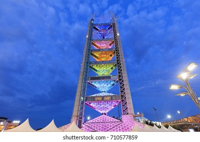 BEIJING, CHINA- AUGUST 4, 2017: Ling Long Pagoda at night at the Olympic green. The Ling Long Pagoda serves as a part of the International Broadcast Center (IBC).