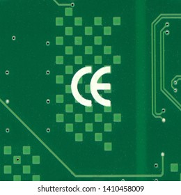 BEIJING, CHINA - CIRCA MAY 2019: The CE (China Export) mark here seen on a pcb is very similar to the CE mark of the European Union