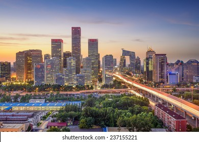 Beijing, China city skyline in the Central Business District at sunset.