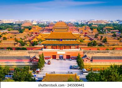 Beijing, China city skyline at the Forbidden City.