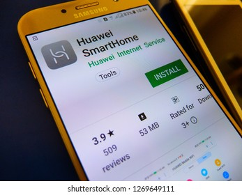 Beijing, China. December 25, 2018 - Huawei SmartHome application on smartphone screen. Huawei SmartHome app is for manage hilink devices.