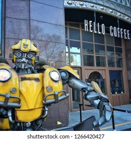 Beijing, China- December 25,2018: Bumblebee robot in from of Hello Cafe. New opening during Christmas by Hello Mart which is adjacent to Four Seasons Hotel in Beijing, China.