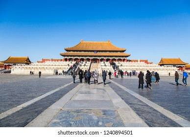 BEIJING, CHINA - DESEMBER 18, 2017: The Forbidden City (Palace museum), the Chinese imperial palace from the Ming dynasty to the end of the Qing dynasty (1420 to 1912).
