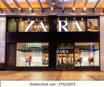 BEIJING, CHINA- FEBRUARY 12, 2017: Zara store. Zara is one of the largest international fashion companies and it's the flagship chain store of the Inditex group.