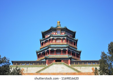 Beijing / China - February 8th 2014: Tower of Buddhist Incense (Foxiangge) on the Longevity Hill of The Summer Palace, a vast ensemble of lakes, gardens and palaces in Beijing.