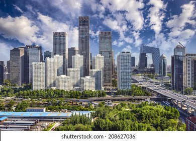 Beijing, China financial district cityscape.