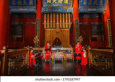 Beijing, China - Jan 12 2020: A group of Chinese musicians perfom traditional worshiping music to the Confucius at the Temple of Confucius