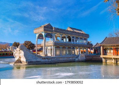 Beijing, China - Jan 13 2020: Marble Boat (AKA Boat of Purity and Ease) is a lakeside pavilion of the Beijing Summer Palace, first erected in 1755 during the reign of the Qianlong Emperor