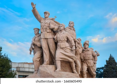 Beijing, China - Jan 17 2020: Monument's of people at Memorial Hall of Chairman Mao, the final resting place of Mao Zedong, Chairman of the Communist Party of China who passed away in 1976
