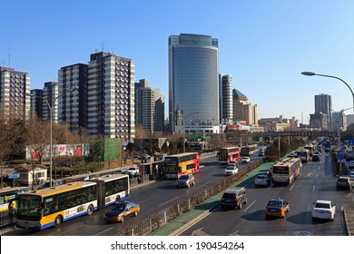 BEIJING, CHINA - JAN. 20, 2014:  Skyline and traffic. The IMF has forecast China's economic growth this year at 7.5%. China is on the way to become the No. 1 economy by the early 2020s or sooner.
