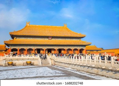 Beijing, China - Jan 9 2020: Qianqinggong (Palace of Heavenly Purity) is the main palace of the living zone of Forbidden City, and one of three palaces in living zone