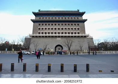 BEIJING, CHINA - JANUARY 13, 2017: The  chinese historical architecture building in the area of Tian An Men square, Beijing China