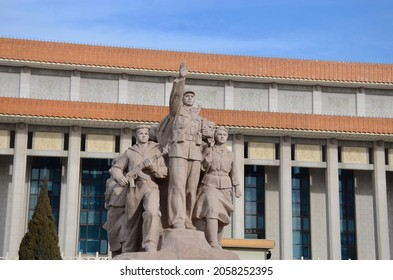 BEIJING, CHINA - JANUARY 13, 2017: The chinese historical architecture building with monument of the working class of China in the area of Tian An Men square, Beijing China