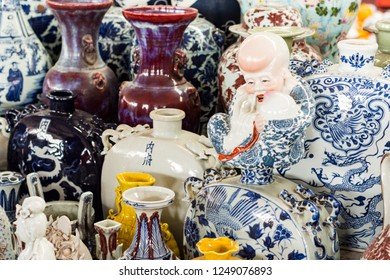 Beijing / China - January 16th 2016: Panjiayuan Antique Market (Beijing Antique Market) is Beijing's biggest and best-known arts, crafts, and antiques market selling second hand goods