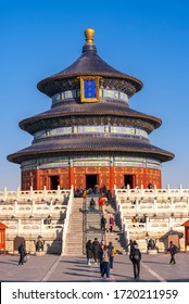 Beijing, China, January 2, 2020 : tourist visit Hall for pray of good harvest (Qi nian dian)Temple of Heaven in Beijing city, China with blue sky.
