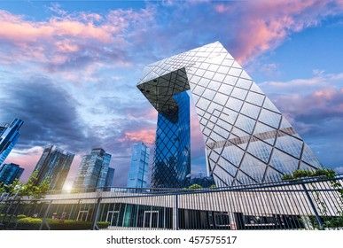 BEIJING ,CHINA - JULY  01, 2016: The CCTV Headquarters is a 234 m (768 ft), 44-story skyscraper at  Beijing Central Business District (CBD).