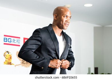 Beijing, China - July 30: Former NBA player Stephon Marbury is introduced as new member of CBA Beijing Begcl Basketball Club on a news conference on July 30, 2017, in Beijing, China.