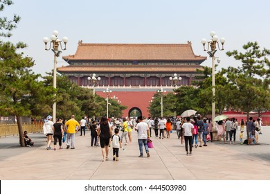 Beijing, China - Jun 20, 2016 : View of the Duanmen, behind the Tianmen, at the Forbidden City in Beijing.