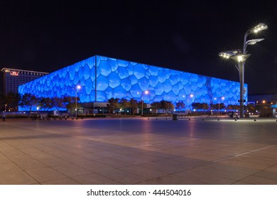 Beijing, China - Jun 21, 2016 : Night view of the National Aquatic Center, Water Cube, of Beijing.
