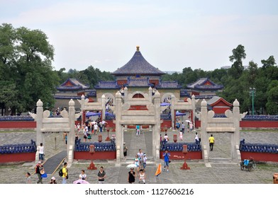 BEIJING, CHINA - JUN.22, 2012: Imperial Vault of Heaven in Temple of Heaven, Beijing, China. Temple of Heaven: an Imperial Sacrificial Altar in Beijing is UNESCO World Heritage Site since 1998.