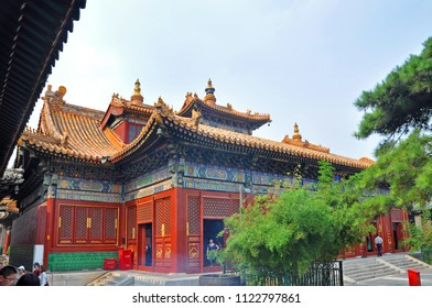 BEIJING, CHINA - JUN.22, 2012: Yonghe Lama Temple is the largest Tibetan Buddhism temple in Han Chinese area, Beijing, China. This temple, built in 1694, has the combination of Chinese Tibetan style.