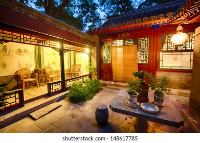 BEIJING, CHINA - JUNE 18: Typical courtyard in the old Hutongs on June 18, 2012 in Beijing. The Hutongs provide a glimps of life in Beijing centuries ago.
