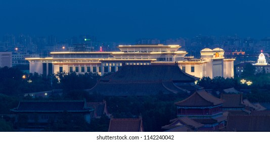 Beijing / China - June 19 2015: Downtown Beijing with Forbidden City and illuminated National Museum of China.