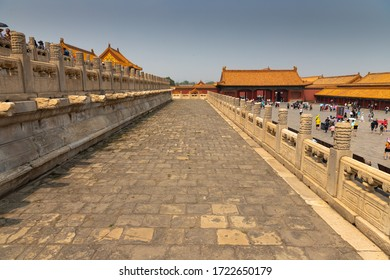 Beijing / China - June 19 2019: People visiting Forbidden City landmark in Beijing, China on a summer day