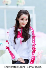Beijing, china- june 20, 2019: chinese actress Dili reba is wearing chinese tang dynasty voluptuous makeup, sexy and pretty Chinese woman