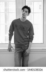 Beijing, china- June 28,2019: Famous Chinese young actor Chen xingxu standing by a window, black and white picture , Handsome model, chinese movie and teleplay star