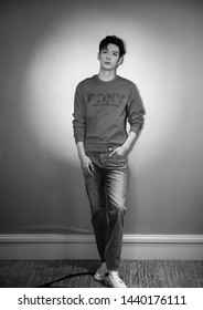Beijing, china- June 28,2019: Famous Chinese young actor Chen xingxu wears pony sweater, black and white picture , Handsome model, chinese movie and teleplay star