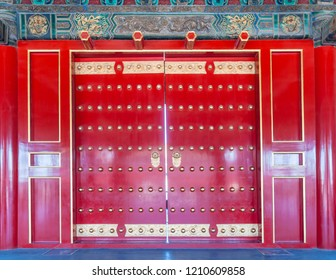 Beijing, China - June 6 2009: Red door in the Forbidden City, the former palace of the Chinese Emperor.
