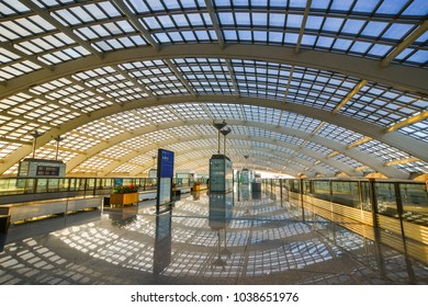 Beijing, China - Mar 1, 2018. Train station at Beijing Capital Airport. The Airport (PEK) is situated 32 km northeast of central Beijing, China.