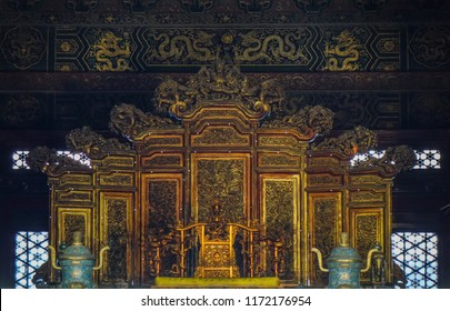 Beijing, China - Mar 1, 2018. Emperor throne and court area in the Hall of Supreme Harmony Taihedian of Forbidden City (Palace Museum) in Beijing, China.