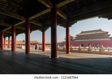 Beijing, China - Mar 16, 2018: View of people visiting the Forbidden City in Beijing. It is a palace complex in Beijing and a popular tourist attraction.