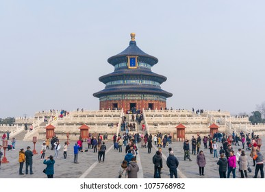 Beijing, China - Mar 18, 2018: People visiting the Temple of Heaven in Beijing. It is a religious complex used by the Chinese Emperors for ceremonies.