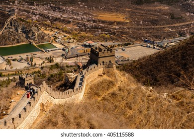 BEIJING, CHINA - MAR 25, 2016: Great Wall of China, a series of fortifications made of stone, brick, tamped earth, wood, and other materials UNESCO World Heritage Site