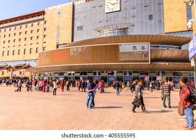 BEIJING, CHINA - MAR 27, 2016: Western Railway station of Beijing, China. One of the raiway stations for the high speed railway in Beijing