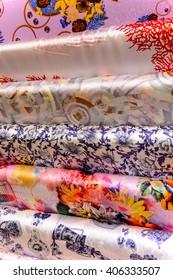 BEIJING, CHINA - MAR 27, 2016: Silk sheets at the Yuan Hou silk store and factory in Beijing, China. Silk articles are popular among tourists