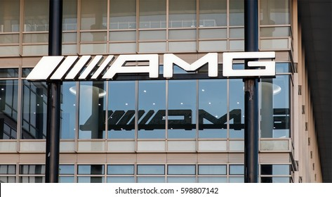 BEIJING, CHINA- MARCH 08, 2017: AMG sign; Daimler AG is a German multinational automotive corporation founded in 2007 and Mercedes-AMG GmbH is a owned subsidiary of Daimler AG.