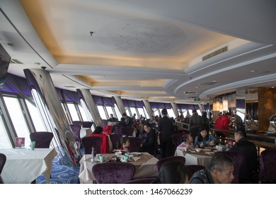 BEIJING, CHINA, MARCH 25, 2018: revolving restaurant on Central Television Tower