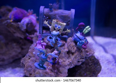 BEIJING, CHINA, MARCH 25, 2018: SpongeBob SquarePants decoration at Taipingyang Underwater World Exhibition