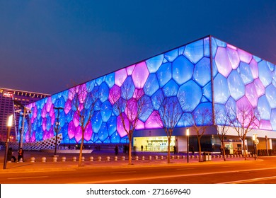 """Beijing, China - March 26, 2015:National swimming center is also called the """"water cube"""", is located in the Beijing Olympic park, is for the 2008 Olympics  to build the main swimming pool  landmark"""